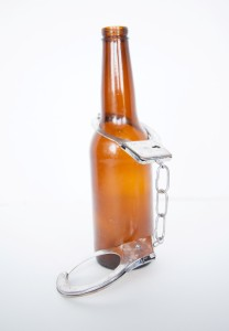 beer bottle and handcuff