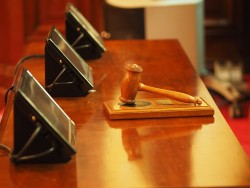 Gavel on court table